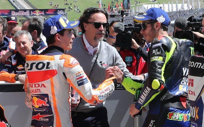 Handshake zwischen Marquez und Rossi beim Grand Prix der USA