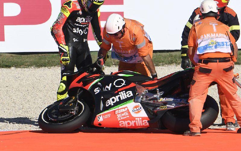 Andrea Iannone ging in Misano dreimal zu Boden – zweimal mit Schmerzen