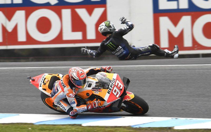 Während Vinales ins Aus rutschte, fuhr Marquez einem erneuten Sieg entgegen