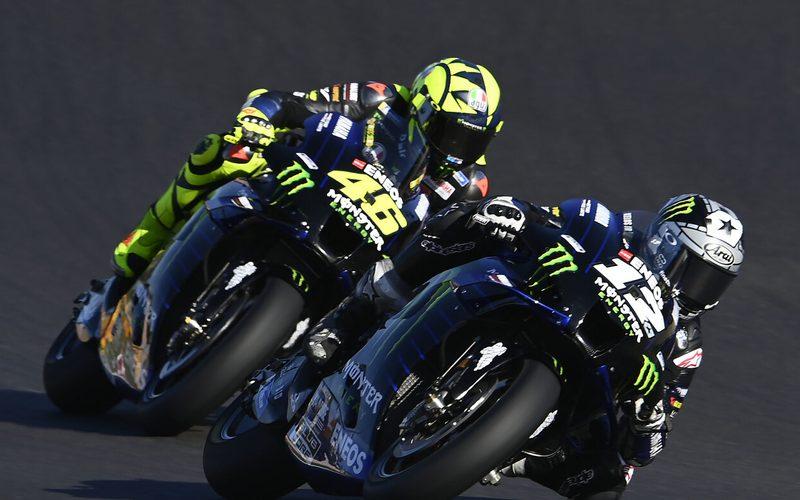 Maverick Vinales kam 0,3 Sekunden vor Valentino Rossi ins Ziel