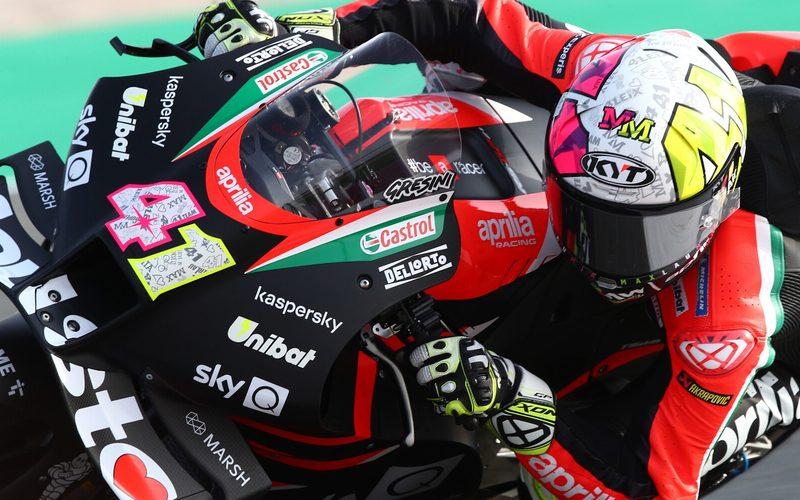 Aprilia-Pilot Aleix Espargaro setzte sich knapp gegen Suzuki und Yamaha durch
