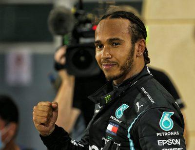 SAKHIR,BAHRAIN,29.NOV.20 - MOTORSPORTS, FORMULA 1 - Grand Prix of Bahrain, Bahrain International Circuit. Image shows the rejoicing of Lewis Hamilton (GBR/ Mercedes).