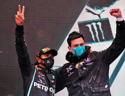 ISTANBUL,TURKEY,15.NOV.20 - MOTORSPORTS, FORMULA 1 - Grand Prix of Turkey, Istanbul Park. Image shows Lewis Hamilton (GBR/ Mercedes) and executive director Toto Wolff (Mercedes).