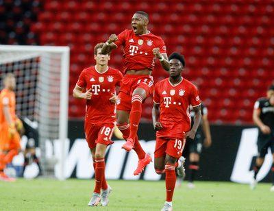 BERLIN,GERMANY,04.JUL.20 - SOCCER - DFB Pokal, final, Bayer 04 Leverkusen vs FC Bayern Muenchen. Image shows the rejoicing of David Alaba (Bayern).