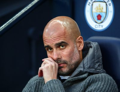 MANCHESTER,ENGLAND,17.APR.19 - SOCCER - UEFA Champions League, Quarter-finals, Manchester City vs Tottenham Hotspur. Image shows the disappointment of head coach Pep Guardiola (Man.City).