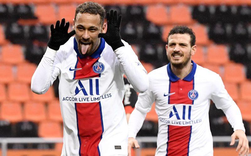 LORIENT,FRANCE,31.JAN.21 – SOCCER – Ligue 1, FC Lorient vs Paris Saint-Germain. Image shows the rejoicing of Neymar (PSG).
