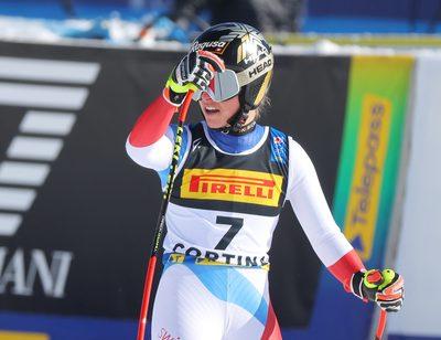 CORTINA D AMPEZZO,ITALY,11.FEB.21 - ALPINE SKIING - FIS Alpine World Ski Championships, Super G, ladies. Image shows the rejoicing of Lara Gut-Behrami (SUI).