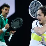 MELBOURNE, AUSTRALIA - FEBRUARY 16: Novak Djokovic of Serbia celebrates during his match against Alexander Zverev of Germany during day nine of the 2021 Australian Open at Melbourne Park on February 16, 2021 in Melbourne, Australia.