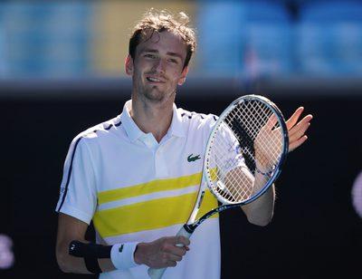 MELBOURNE,AUSTRALIA,09.FEB.21 - TENNIS - ATP World Tour, Grand Slam, Australian Open. Image shows the rejoicing of Daniil Medvedev (RUS).