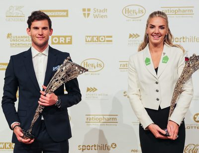 VIENNA,AUSTRIA,10.NOV.20 - VARIOUS SPORTS, SPORTHILFE - LOTTERIEN Sporthilfe-Gala, election of Austrian Sports Personality of the Year. Image shows Dominic Thiem and Ivona Dadic (AUT). Photo: GEPA pictures/ Michael Meindl