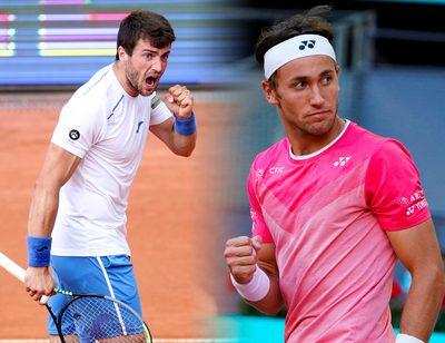 KITZBUEHEL,AUSTRIA,30.JUL.21 - TENNIS - ATP World Tour, Generali Open. Image shows the rejoicing of the Pedro Martinez (ESP).