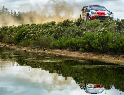 Sebastien Ogier (FRA) and Julien Ingrassia (FRA) of team Toyota Gazoo Racing are performing during World Rally Championship Sardinia in Olbia, Italy on June 4, 2021.