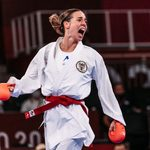 TOKYO,JAPAN,05.AUG.21 - OLYMPICS, KARATE - Summer Olympic Games 2020, women -55kg. Image shows the rejoicing of Bettina Plank (AUT).