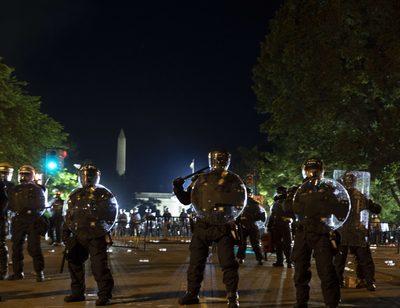 Proteste: Trump in Bunker